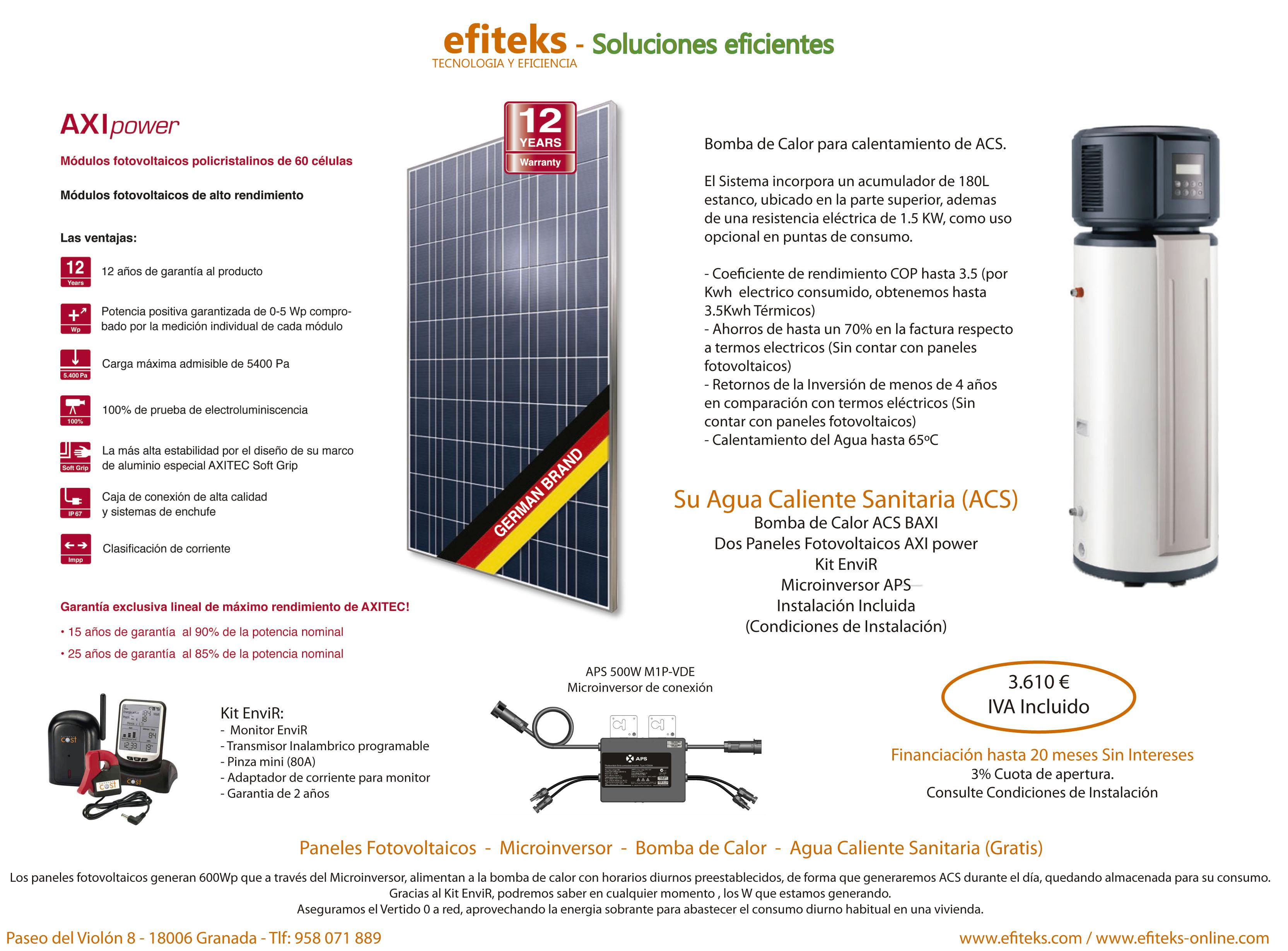 OFERTA BOMBA DE CALOR Y FOTOVOLTAICA A4 - Sistemas fotovoltaicos efiteks